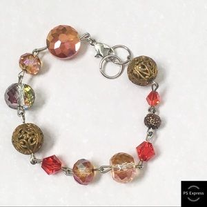 Jewelry - Handmade red and gold beaded bracelet